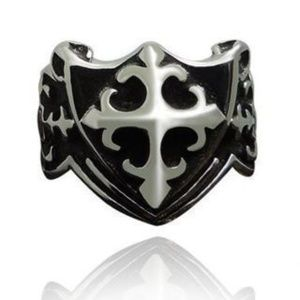 Mens Vintage Style Antique Silver Steel Cross Ring